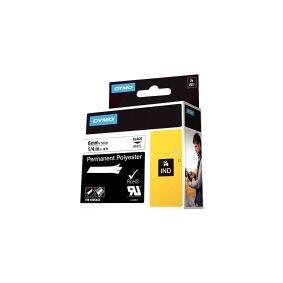 Dymo Rhino Permanent Polyester - Polyester - permanet adhesiv - svart på hvitt - Rull (0,6 cm x 5,5 m) 1 rull(er) tape - for Rhino 6000, 6000 Hard Case Kit