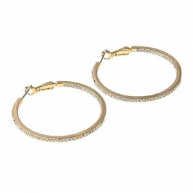 Snö Of Sweden Story Ring Earring Gold/Clear 40mm