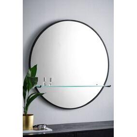 SVEA speil med hylle - ø 90 cm Svart