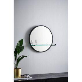 SVEA speil med hylle - ø 46 cm Svart