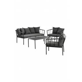 MENTON loungemøblement - 4 deler Svart/mørk grå puter