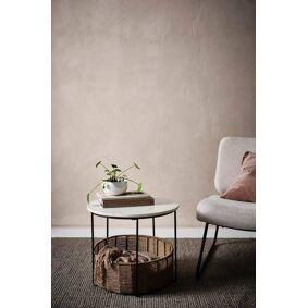 TREVI sidebord/dyreseng Ø 51 cm Hvit marmor/jute