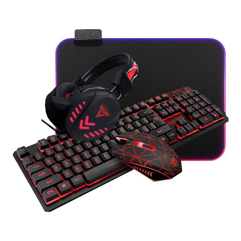 satana 4-I-1 Gamingpakke I Høy Kvalitet Med Tastatur / Mus / Headset / Musematte