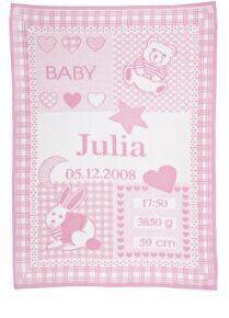 Personlig baby pledd ned barnets navn. Farge: rosa unisex