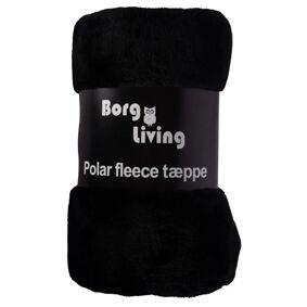 Borg Design Fleece Teppe - Svart - 150x200cm