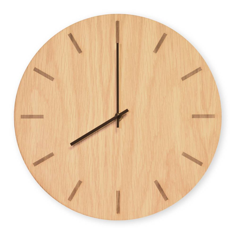 Tidsløs Light Oak Wall Clock - 28 Cm - Kvarts Urverk -
