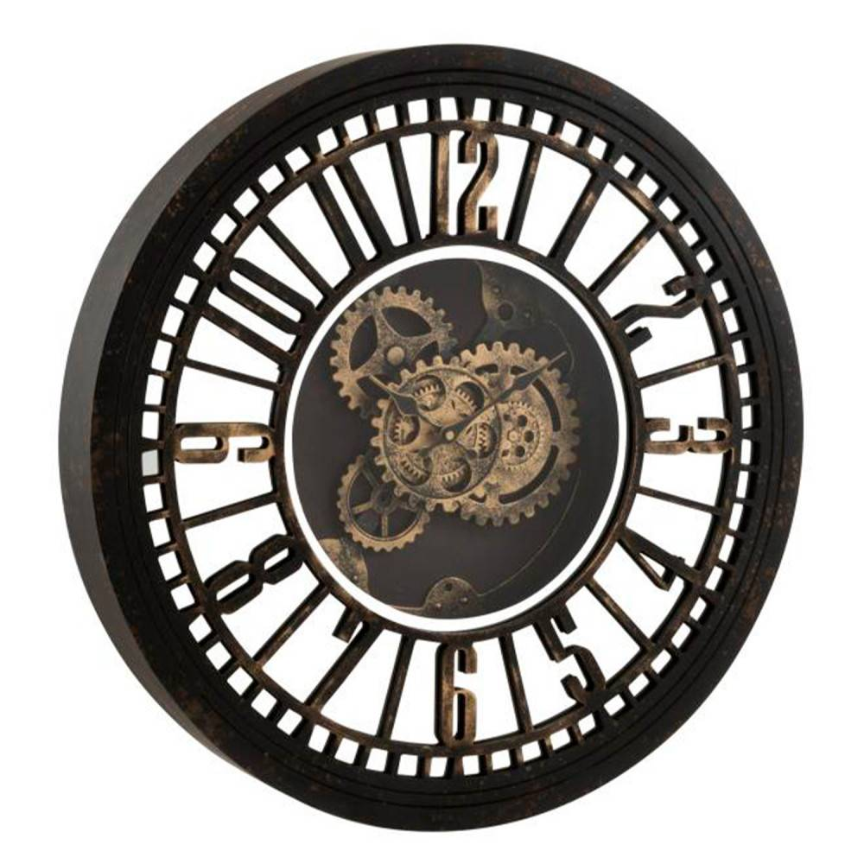 J-Line Clock Round Radars Mechanism Mirror Antique Black/gold - Kvarts Urverk  - Rustfrit Stål
