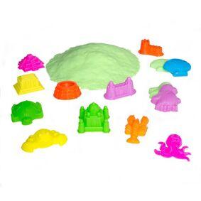 Lekia Magic Sand, Boks med tilbehør, 1,5 kg grønn