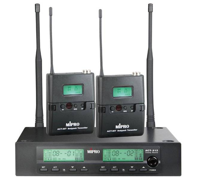 Mipro Act-312b/act-32t Lommesender X 2 5a 506~530mhz