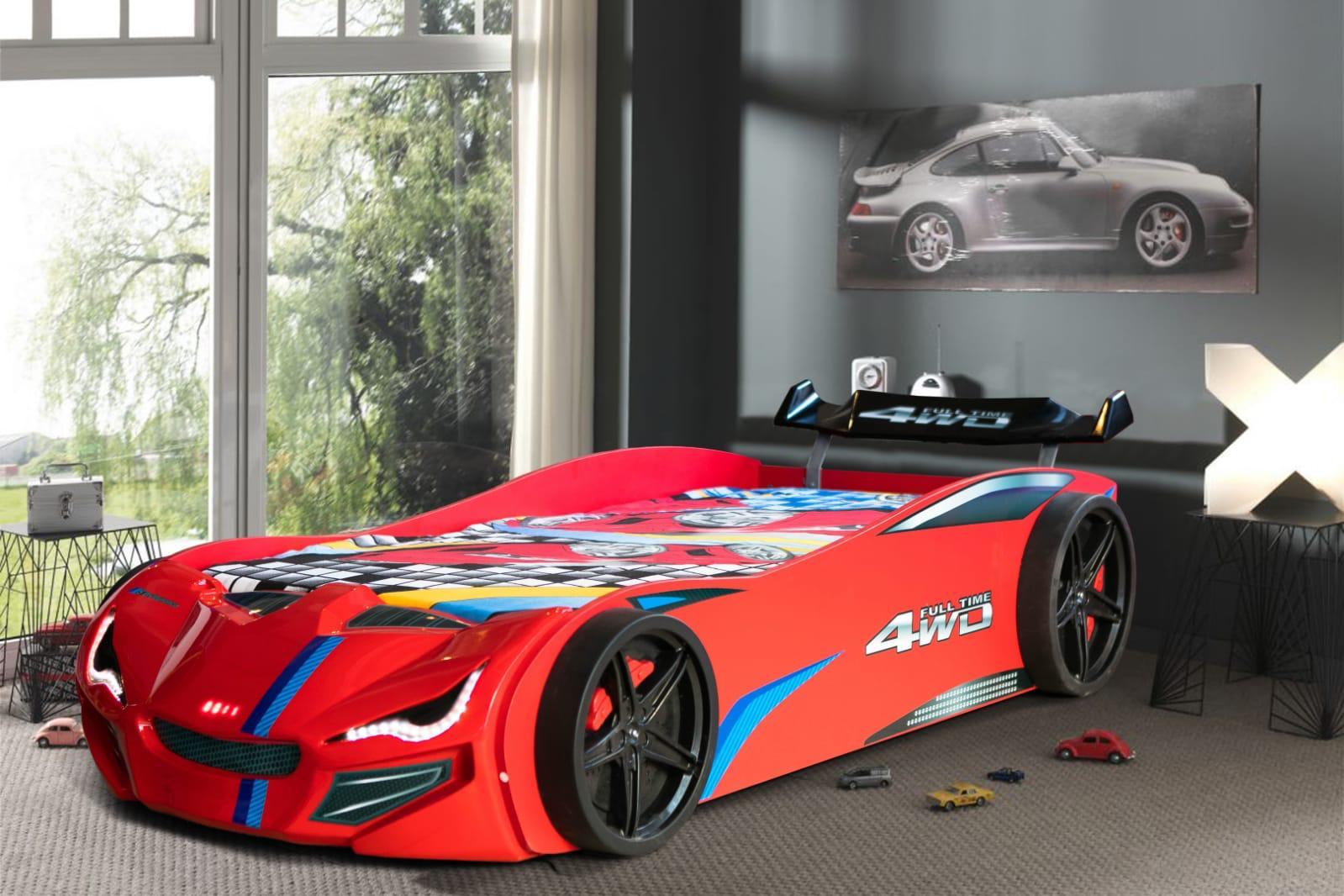 Drømmerom GT1 Racer Bilseng – 90×190 – LED LYS – RØD