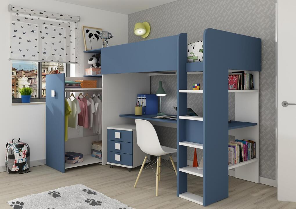 Drømmerom Loftseng Trasman med garderobe – blå