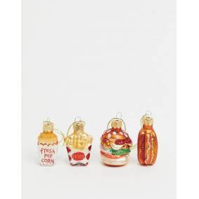 Sass & Belle Christmas bauble multipack x 4 in fast food mix  Multi