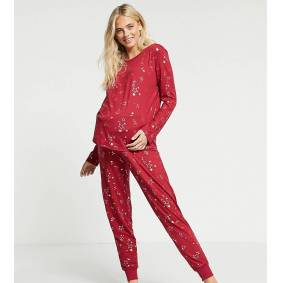 Chelsea Peers Maternity eco poly foil star long pyjama set in red  Red
