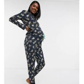 Chelsea Peers Maternity eco poly foil tiger long pyjama set in navy  Navy