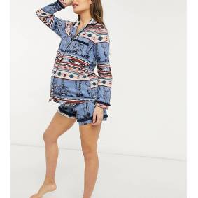 Chelsea Peers Maternity organic cotton aztec print short revere pyjama set in blue  Blue