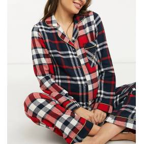 Chelsea Peers Maternity organic cotton mixed check long revere pyjama set in red and navy  Red