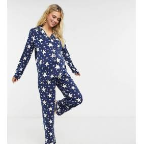 Chelsea Peers Maternity star print shirt and trousers pyjama set in black and white  Black