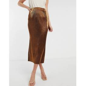 French Connection Taina metallic jersey pleated skirt-Gold  Gold