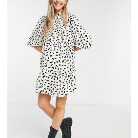 In The Style Maternity x Dani Dyer collar detail pleated shirt skater dress in cream fleck print-Multi  Multi