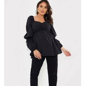 In The Style Maternity x Dani Dyer puff sleeeve shirred detail smock top in black  Black