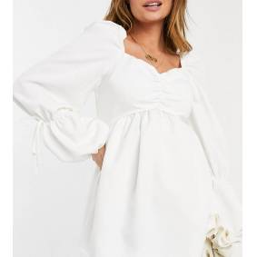 In The Style Maternity x Dani Dyer puff sleeeve shirred detail smock top in white  White