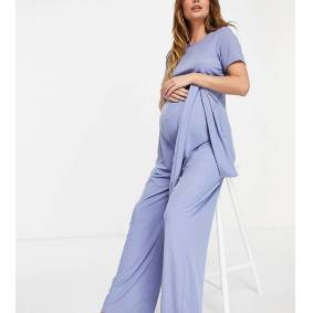 In The Style Maternity x Dani Dyer ribbed jumpsuit with belt detail in blue  Blue