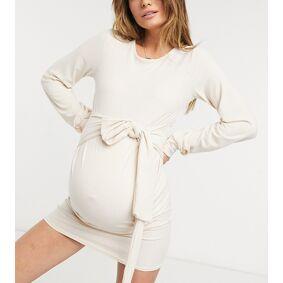 In The Style Maternity x Dani Dyer sweat dress with belt detail in stone-Beige  Beige