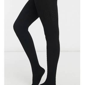 Lindex Maternity eco viscose cable knit tights in black  Black