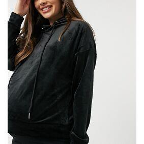 Lindex MOM Taylor recycled poly velour hoodie in black  Black