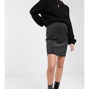 Mama.licious Mamalicious glittery pinstripe skirt in velvet-Black  Black