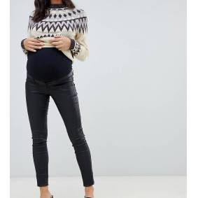 Mama.licious Mamalicious Maternity coated skinny jeans with bump band in black  Black