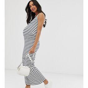 Mama.licious Mamalicious Maternity organic cotton maxi dress in blue and white stripe-Multi  Multi