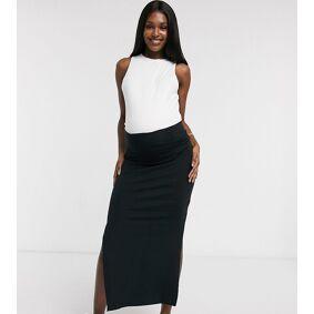 Mama.licious Mamalicious Maternity organic jersey maxi skirt in black  Black