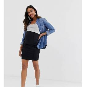 Mama.licious Mamalicious Maternity organic mini bodycon skirt in black  Black