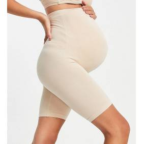 Mama.licious Mamalicious Maternity over the bump shapewear shorts in nude-Beige  Beige