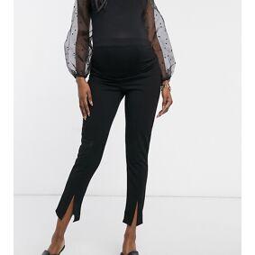Missguided Maternity cigarette trousers with split hem in black  Black