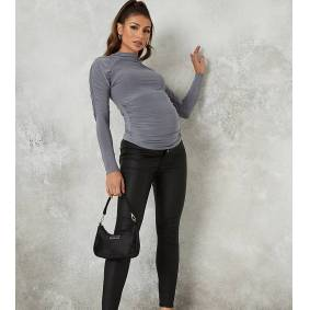 Missguided Maternity coated vice jeans in black  Black