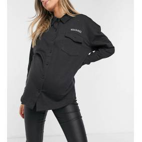 Missguided Maternity embroidered shirt in black  Black