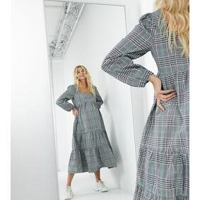 Missguided Maternity maxi smock dress in grey check-Multi  Multi