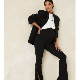 Missguided Maternity ribbed flares with split in black  Black