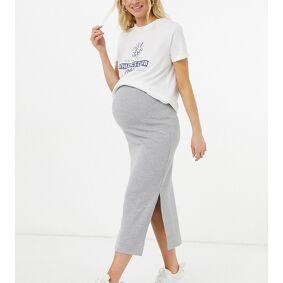 Missguided Maternity ribbed midi skirt with side split in grey marl-Black  Black