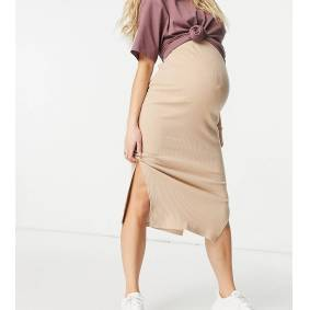 Missguided Maternity ribbed midi skirt with split in neutral-Brown  Brown