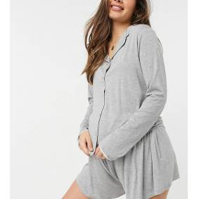 Missguided Maternity soft touch long sleeve short pyjama set in grey  Grey