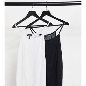 New Look Maternity 2 pack nursing wrap cami tops in black & white-Multi  Multi
