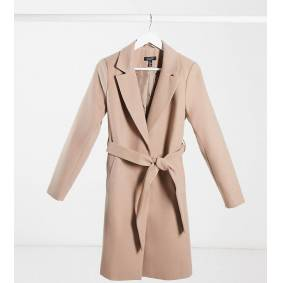 New Look Maternity belted coat in camel-Cream  Cream