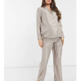 New Look Maternity button up pyjama set in mink-Tan  Tan