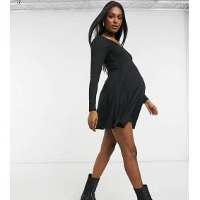 New Look Maternity cosy soft touch mini dress in black  Black