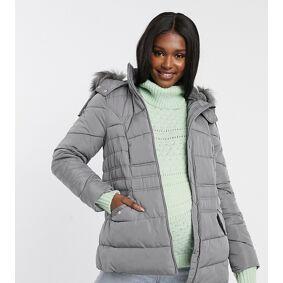New Look Maternity faux fur hooded puffer jacket in grey-Black  Black