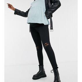 New Look Maternity knee rip jegging in black  Black