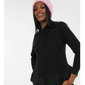 New Look Maternity knitted hoodie with cotton hem in black  Black
